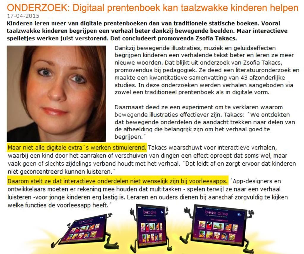 Onderzoek, Taalzwakke kinderen, Zsofia Takacs, digitale prentenboeken, interactieve verhalen