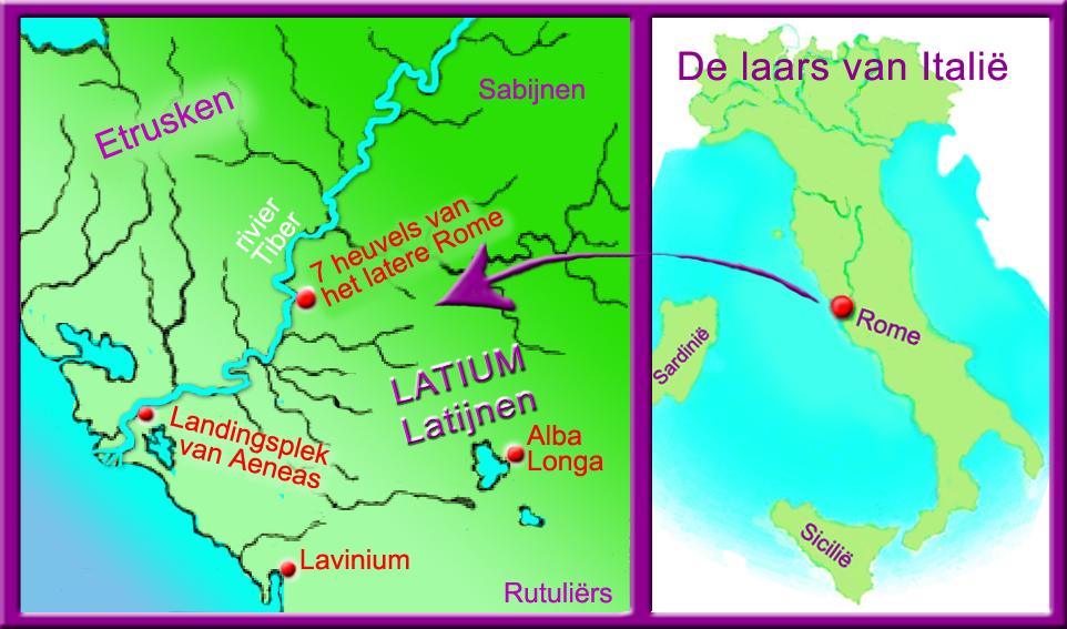 landkaart Italië, map van Latium, oude Latijnse volkeren, landingsplek Aeneas, ontstaan Rome