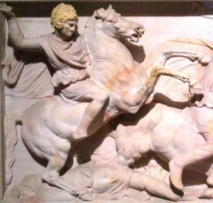 Alexander de Grote, sarcophagus 4 eeuw A.D., museum Istanbul