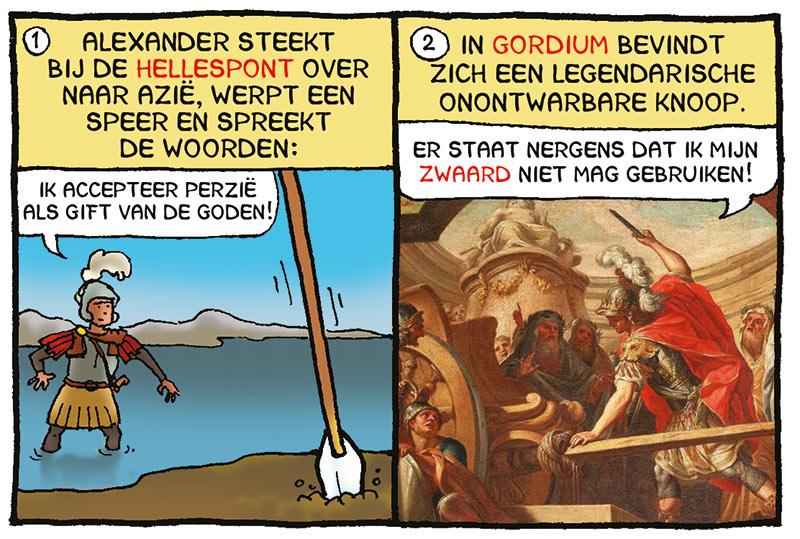 Gordiaanse knoop, Alexander de Grote, Macedonië, Macedonische veldheer, veroveraar Alexander, strip van Margreet de Heer, webcomic Margreet de Heer