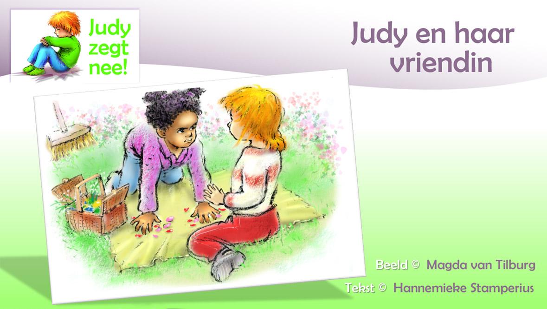 Judy zegt NEE, peuterserie, voorleesverhaal voor 2+, Hannemieke Stamperius, vriendinnetjes ruzie, spullen van mij, eigenwijs, knuffel
