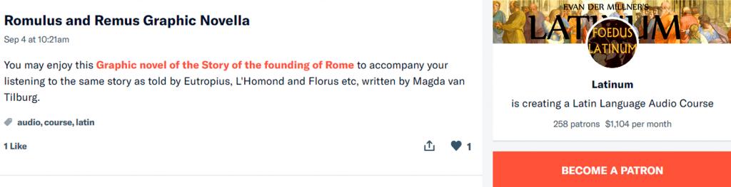 Romulus et Remus, Magda van Tilburg, Latijns stripverhaal, online Latin comic
