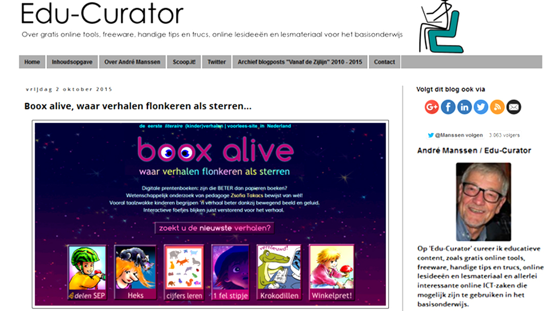 edu-curator, André Manssen overleden, gratis online kinderverhalen