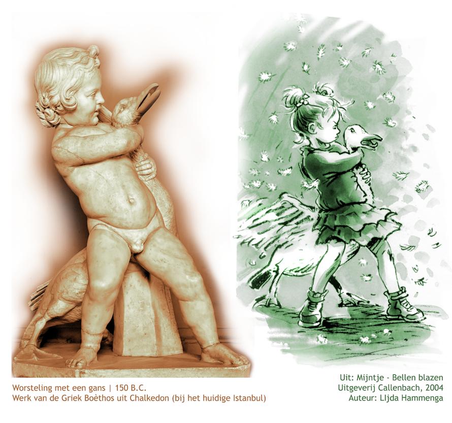digitale prentenboeken online, voorleesverhalen, kind worstelt met gans, scultuur, mijntje bellen blazen, boethos uit chalkedon
