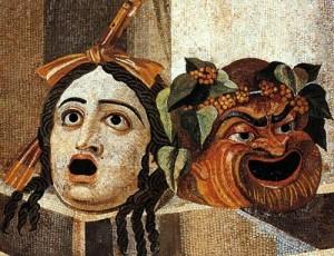 klassieke toneelmaskers, romeinse toneel maskers, klassieke strips
