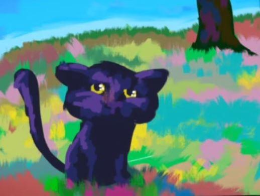 schilderen op iPad, Yvonne Kroese, animatie over schilderen, poesje, katje, digitaal verven