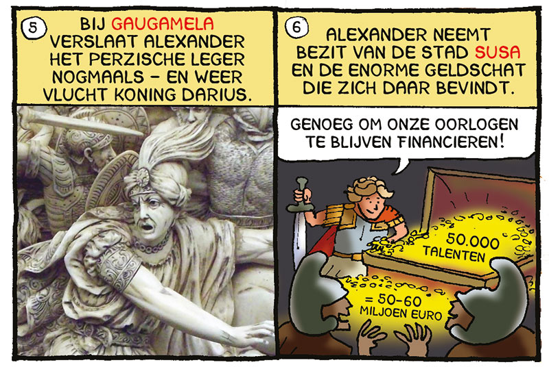 Alexander de Grote, Macedonië, Macedonische veldheer, veroveraar Alexander, strip van Margreet de Heer, webcomic Margreet de Heer, koning Darius, Perzen