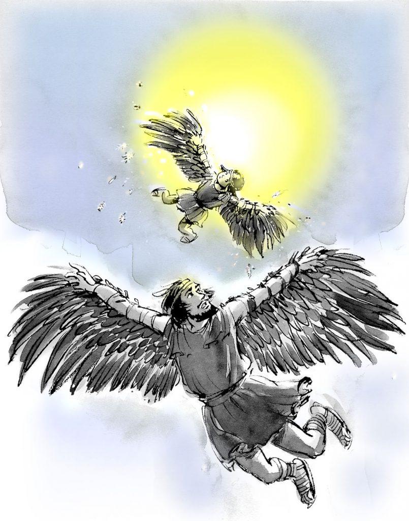 Daedalus en Icarus, eerste vliegende mens, Griekse mythe, koning Minos, Kreta, Minoïsch, vleugels van was en veren
