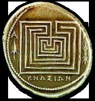 labyrint in knossos, kreta, minoïsche beschaving, mythe van Daedalus en Icarus, munt met labyrint
