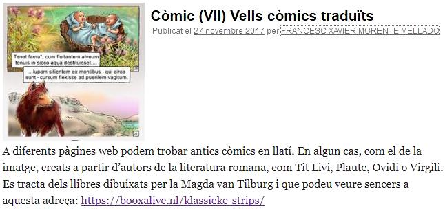 Catalonië, blog Llatiomnibus, antics còmics en llatí, Magda van Tilburg, Titus Livi, Plaute, Ovidi, Virgili