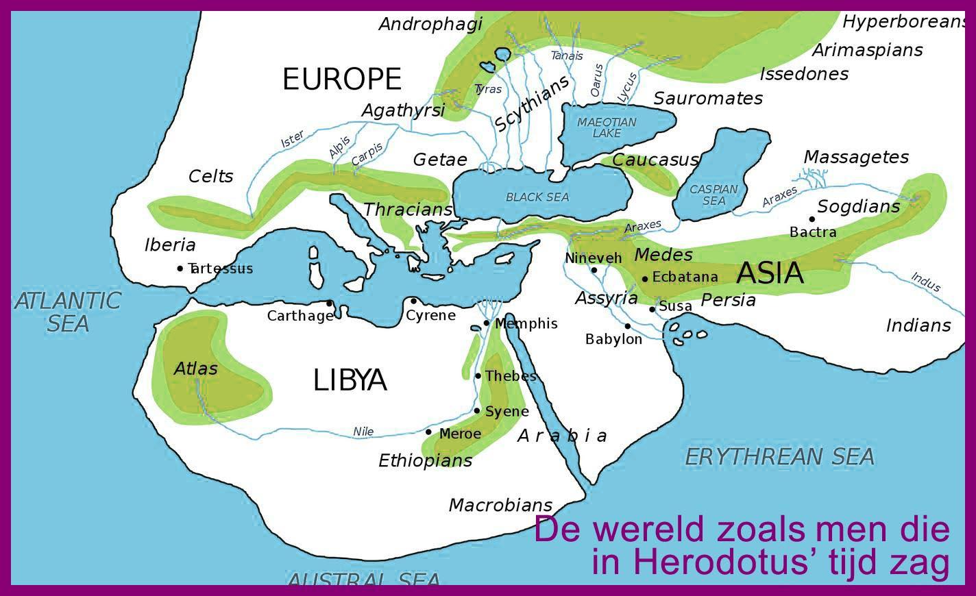 Landkaart uit Herodotus' tijd, de antieke wereld ten tijde van Herodotus
