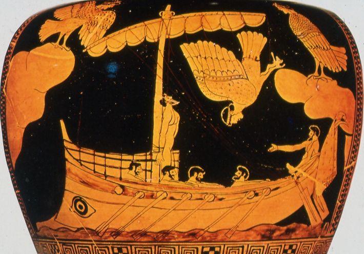 Odysseus bij de Sirenen, greek comics, ancient greek cartoons, graphic novel, Homerus, witch Kirke, heks Kirke, Circe, zwijnen, tovenares, Odysseia, Ulysses, Odyssee, de route van Odysseus, dwaaltocht