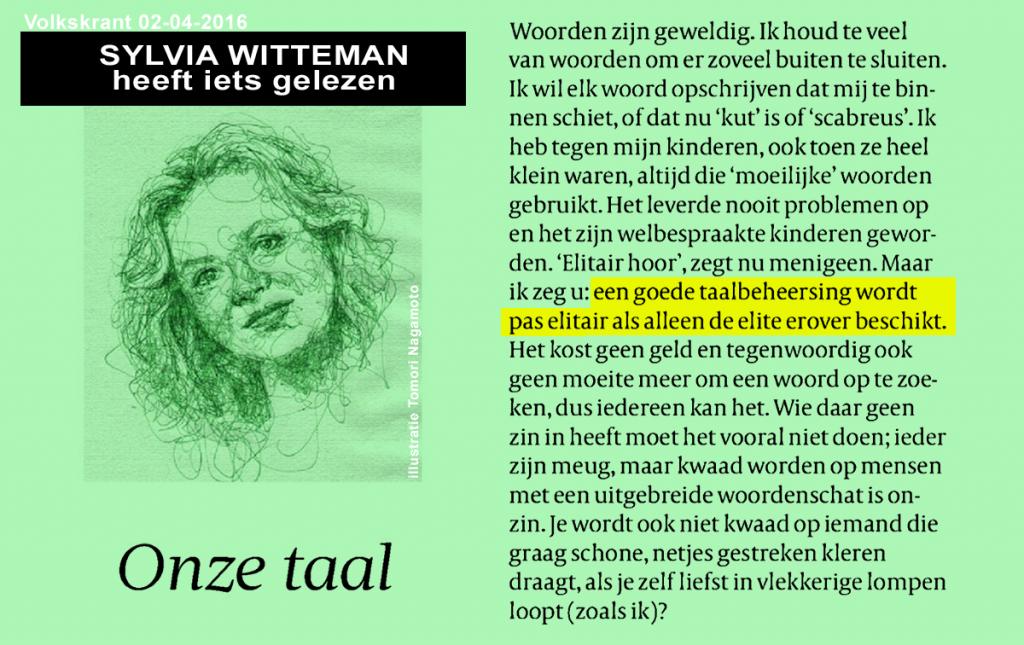 Sylvia Witteman, taal, elite, Volkskrant
