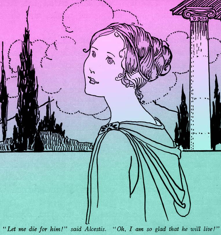 Alkestis, Admetus, Apollo, Euripides, klassieke strip, graphic novel, magda van tilburg