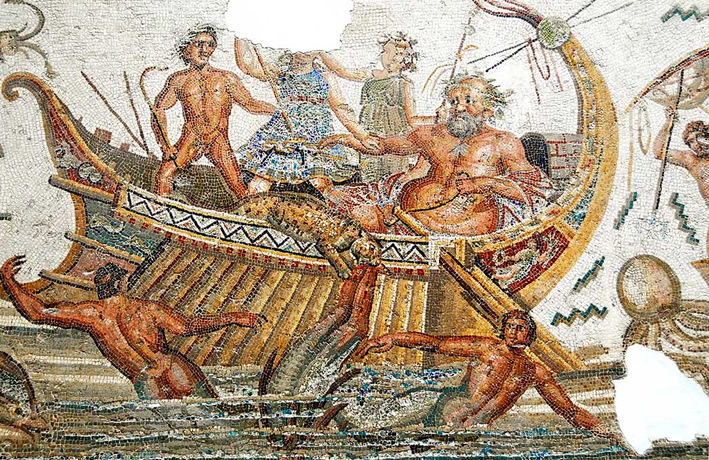 Bacchus, Dionysus, meermannen, Romeins mozaïek, Bardo Museum, Carthago, Tunis, young adult novelle