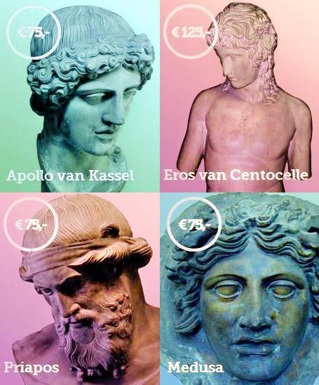 Allard Pierson Museum, Haal ons van zolder, kopieën van klassieke beelden, Apollo van Kassel, Eros van Centocello, Priapos, Medusa