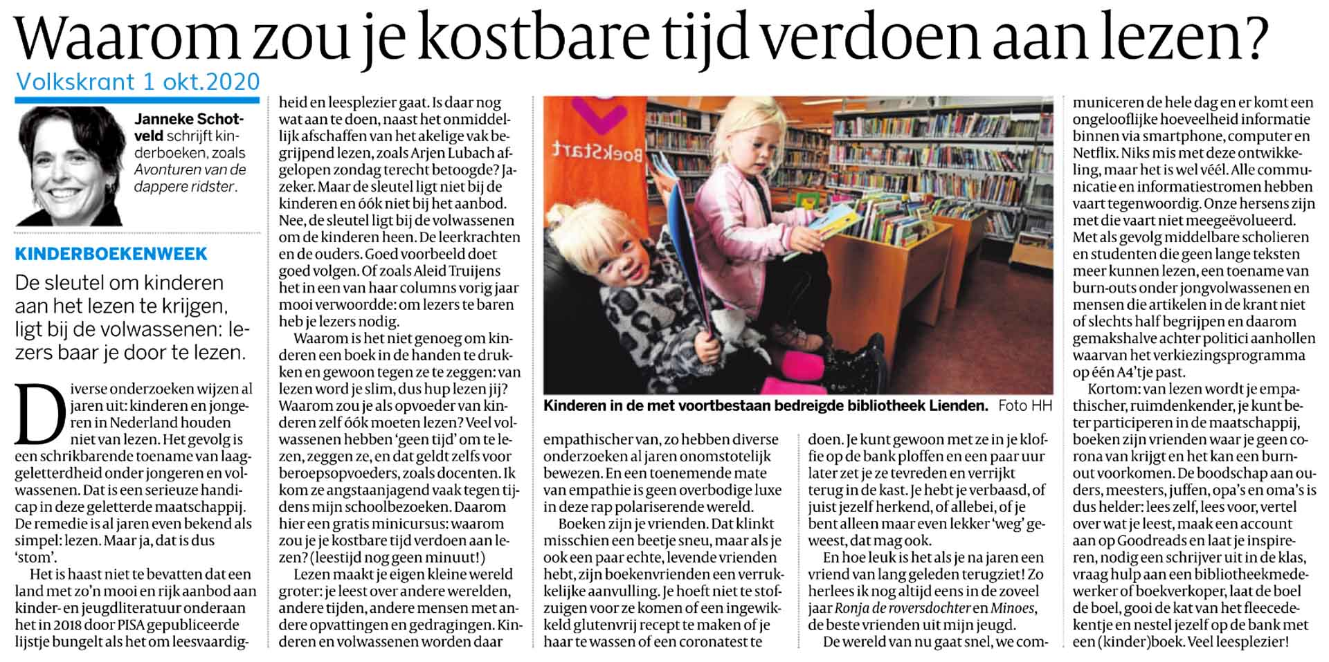 Janneke Schotveld, schrijfster, lezen