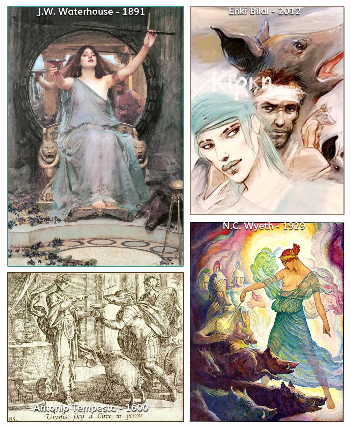 Kirke, Odysseus, Ulysses, Homerus, Enki Bilal, J.W. Waterhouse, N.C.Wyeth, Antonio Tempesta